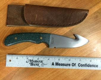 Green Corian Gut Hook Handmade Knife