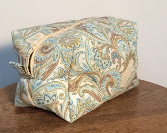Zippered Box Pouch - Paisley / Gift for mom, sister, grandma, friend