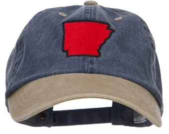Arkansas Map Embroidered Washed Two Tone Cap