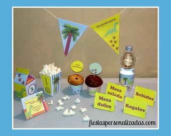 Child model dinosaur birthday party Kit