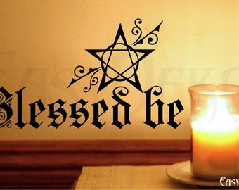 Wall Decal Pentagram Wicca Blessed be - Pagan Wall Art Sticker Magic Mystic Witch Home Decor Livingroom Wall Stickers Room Wiccan Paganism