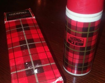 """1970s Avon plaid thermos decanter with wild country after shave. 5"""" with box"""