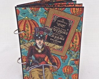 "Handmade Journal / Scrapbook - Potions and Charms - Graphic 45 Papers Steampunk Spells - 7.25"" x 5.25"" -Halloween Scrapbook, Smash Book"
