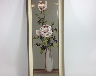 Original Muriel watercolor painting white rose in vace framed 11in. x 27in.