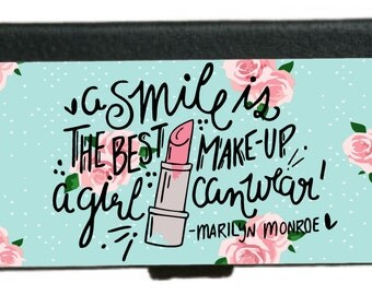 Marilyn Monroe w/ Quote and Roses/Dots:  Case/Wallet