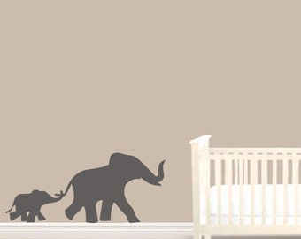 Elephant and Baby elephant Wall Vinyl Sticker Decal