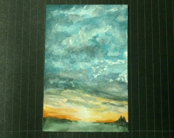 Good Morning - 4x6 inch Watercolor Sunrise