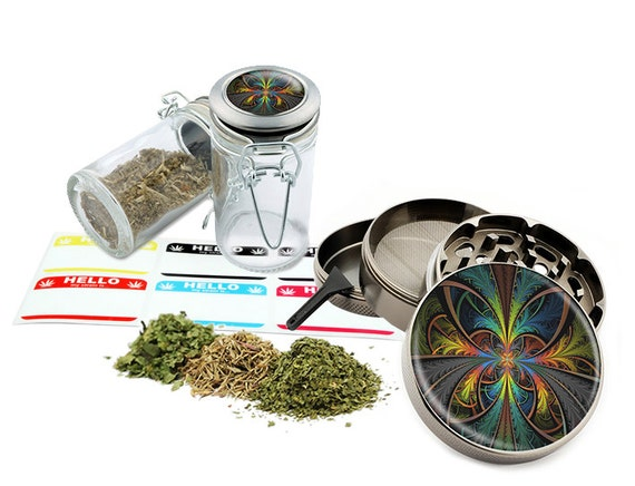 "Psychedelic - 2.5"" Zinc Alloy Grinder & 75ml Locking Top Glass Jar Combo Gift Set Item # 110514-0035"
