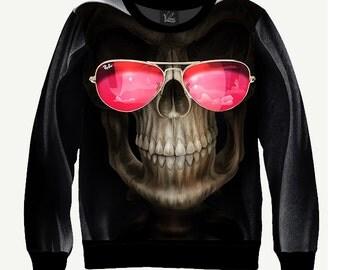 Skull With Glasses - Men's Women's Sweatshirt   Sweater - XS, S, M, L, XL, 2XL, 3XL, 4XL, 5XL