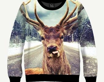 Deer Shows Tongue - Men's Women's Sweatshirt | Sweater - XS, S, M, L, XL, 2XL, 3XL, 4XL, 5XL
