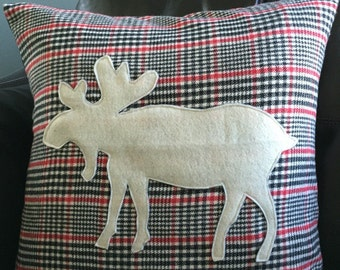 Holiday Plaid Flannel Moose Pillow