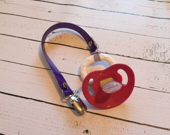 Purple sparkle binky pacifier clip