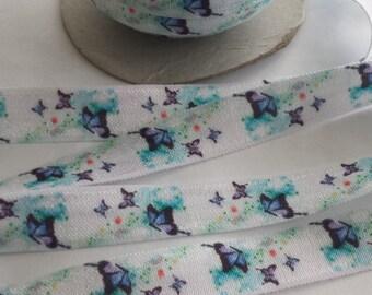 Butterfly Fold Over Elastic, Blue Butterfly Foe, Butterfly Foe, Elastic for Headbands, Sewing Elastic, Printed Fold Over Elastic Printed Foe
