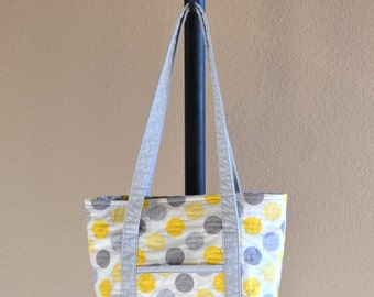 Quilted Polka Dot Tote