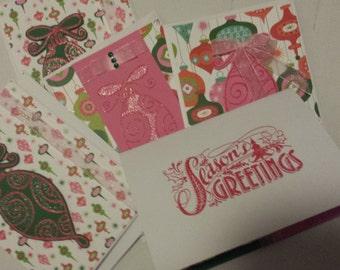 Set of 5 Handmade Christmas cards