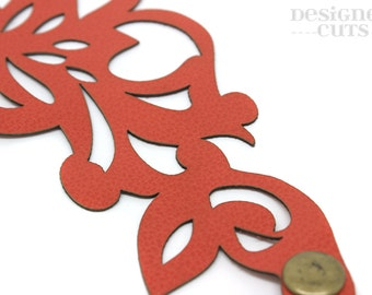 Laser cut leather cuff bracelet - orange swirl design