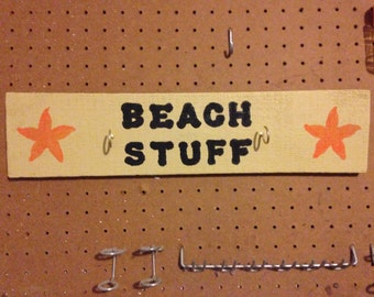 """Wooden Sign/Plaque """"Beach Stuff"""" with hooks for hanging stuff"""