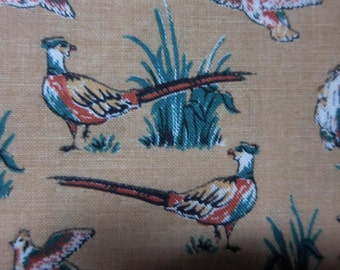 Vintage Marcus Bros Textiles Inc fabric , Pheasants, Masculine fabric, OUT OF PRINT, 100 Percent cotton quilting fabric