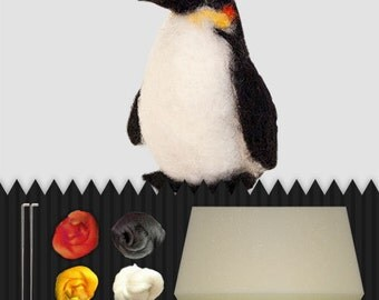 DIY penguïn, do it yourself, needle felted penguïn, packet, wool
