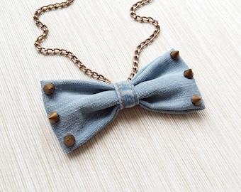 Denim necklace, Denim jewelry, Bow tie necklace, Stud necklace, Blue ribbon