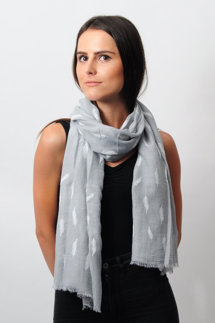 Light Gray Feather Leaf Summer Scarf Infinity Scarf Boho Style