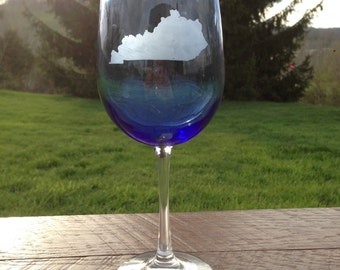 Kentucky State Blue Etched Wine Glass
