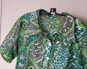 Vintage dress printed polo psychedelic green t.44