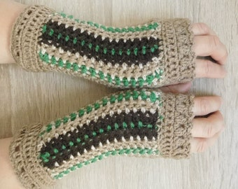 MADE TO ORDER 16118 Brown mittens, Crochet mittens, Fingerless gloves, Fingerless mittens, Crochet fingerless gloves, Hand warmers, Gloves