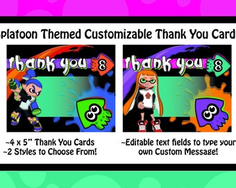Splatoon Themed Thank You Cards