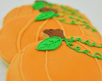 Pumpkin -  Thanksgiving Cookies - Fall Cookies - Decorated Iced Sugar Cookies - One Dozen