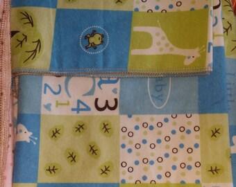 Blue and Green Safari Receiving blanket set