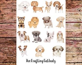 Sweet Puppy Dog Planner Stickers