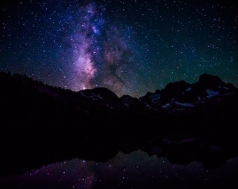Milky Way Photography, Night Sky Stars, Lake Reflection, Astrophotography, Silhouette Photo, Space, Galaxy, Constellations, Mountain Nature