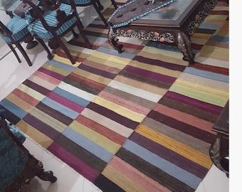 "8x10 area rug, Kilim Area rug, Multicolor kilim/dhurrie rug, area rug 8x10, large rugs, modern area kilim rug. Size:8'2"" x 10'3"""