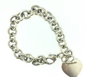 Authentic Tiffany & Co. HEART tag link bracelet.