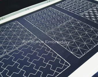 Sashiko patterns - Sashiko Quilting Blocks - Quilting - six(6) Patterns - six(6) sizes Hoop - Machine Embroidery Patterns - Instant Download