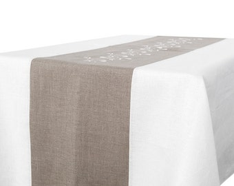 LINEN TABLECLOTH EMBROIDERED Tablecloth Wedding, Tablecloth Rectangle,  Square Tablecloth, Rectangle Tablecloth, Table
