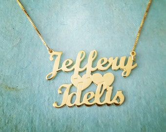 Lovers Gold Name Necklace / Wedding Gift Necklace / Solid 14k Gold Love Necklace / For Ever And Ever Necklace - 14k Yellow Gold UPGRADED!