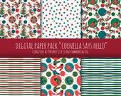 """Digital Paper Pack  """"Cornella Says Hello"""""""