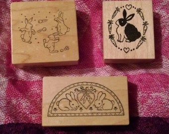 Set of 3 Bunny Stamps
