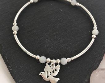 Sterling Silver Love and Peace Dove Charm Bracelet, White Mother of Pearl Charm Bracelet, Bird Charm Bracelet, Silver Beaded Bangle,