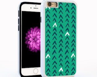 Geometric Chevron Cell Case in Turquoise and Dark Blue, Hard Plastic for iPhone6 / 6plus, iPhone5, Galaxy s5, or Galaxy s6