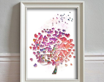 Tree Watercolor Rainbow Hearts Tree Painting Watercolor Print Tree Art Wall Art Tree Print Home Decor Tree Illustration - PRINT