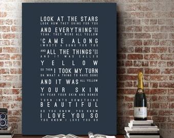 Coldplay Yellow Inspired Lyrics Love Song Wall Art Song Lyrics Home Decor Anniversary Wedding Gift Typography Lyric PRINT