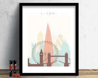 London Skyline, Print, Watercolor Print, London Wall Art, Watercolor Art, City Poster, Cityscape, Home Decor, Gift PRINT