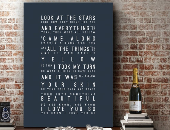 Coldplay Yellow Inspired Lyrics Love Song Wall Art Song Lyrics
