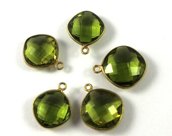 Summer Sale 5 Pieces Green Hydro Quartz  24K Gold Plated Single Bail Pendant, 17mm x 14mm #BZ 019
