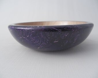 Purple Flecked Decorative Wooden Bowl Hand Turned Maple