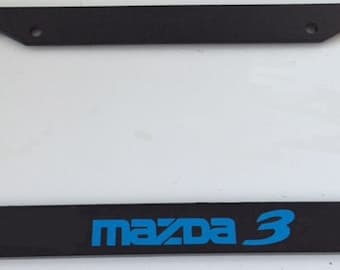 Mazda 3 Racing -  Black with Blue  Automotive License Plate Frame