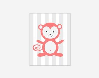 Baby Nursery Wall Art Coral Gray Grey Monkey Canvas Prints Baby Boy Girl Nursery Decor Safari Jungle Zoo Animals New Baby Shower Gift